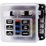 Caja de Fusibles Porta fusibles 6 Vías Portafusibles con Lámpara de Alerta LED Kit Tamaño Hoja