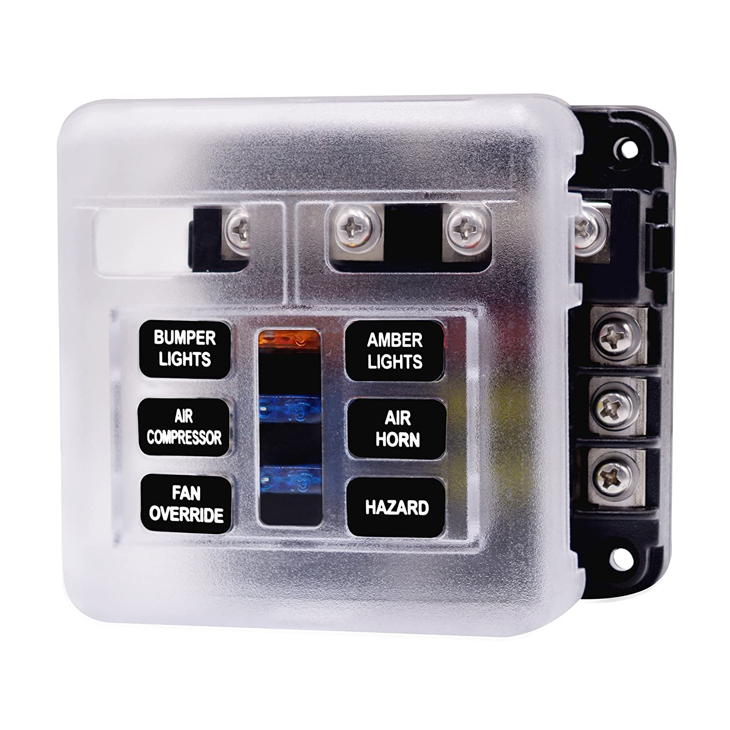 SixDu 6/12 Way Blade Fuse Box Single Positive and Negative Pole PBT Fuse Box with LED Indicator Double Fuse With PPX40 Sticker for Automotive Car Marine Boat (12 way)