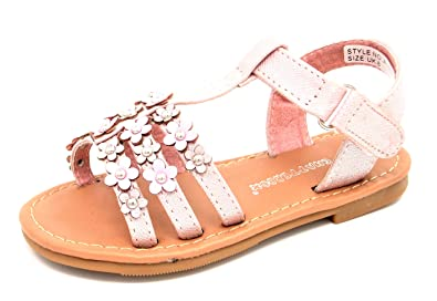 GIRLS PINK GLITTER FLOWER FLAT HOLIDAY BEACH SUMMER SANDALS INFANTS UK SIZE 4-12