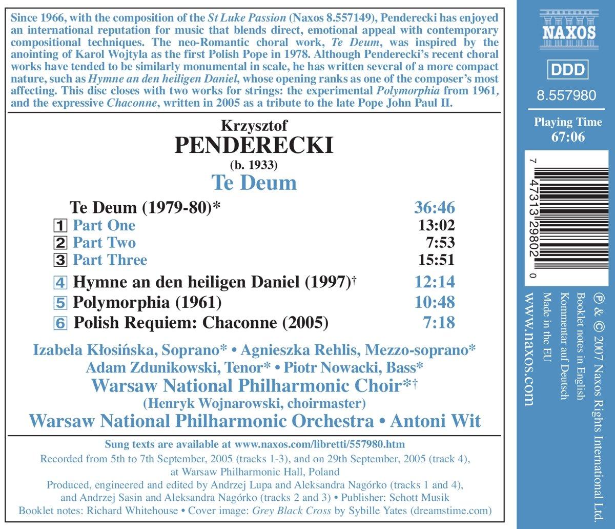 Te Deum Polymorphia Polish Requiem Chaconne