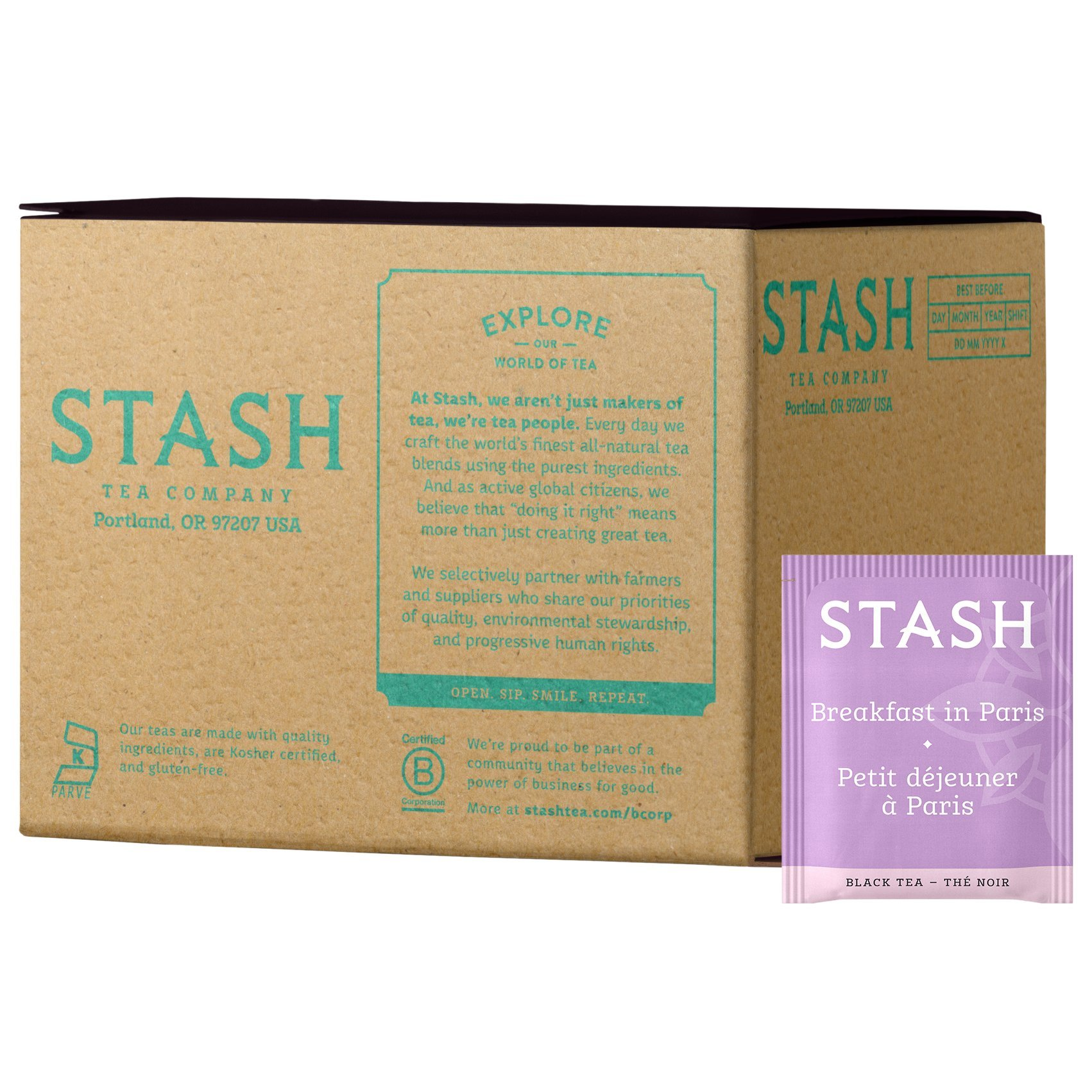 Stash Tea Breakfast in Paris Black Tea, 100 Count Box of Tea Bags in Foil Individual Black Tea Bags for Use in Teapots Mugs or Cups, Brew Hot Tea or Iced Tea by Stash Tea