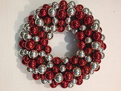 red and silver ornament wreath for front door christmas winter indoor holiday table top centerpiece or
