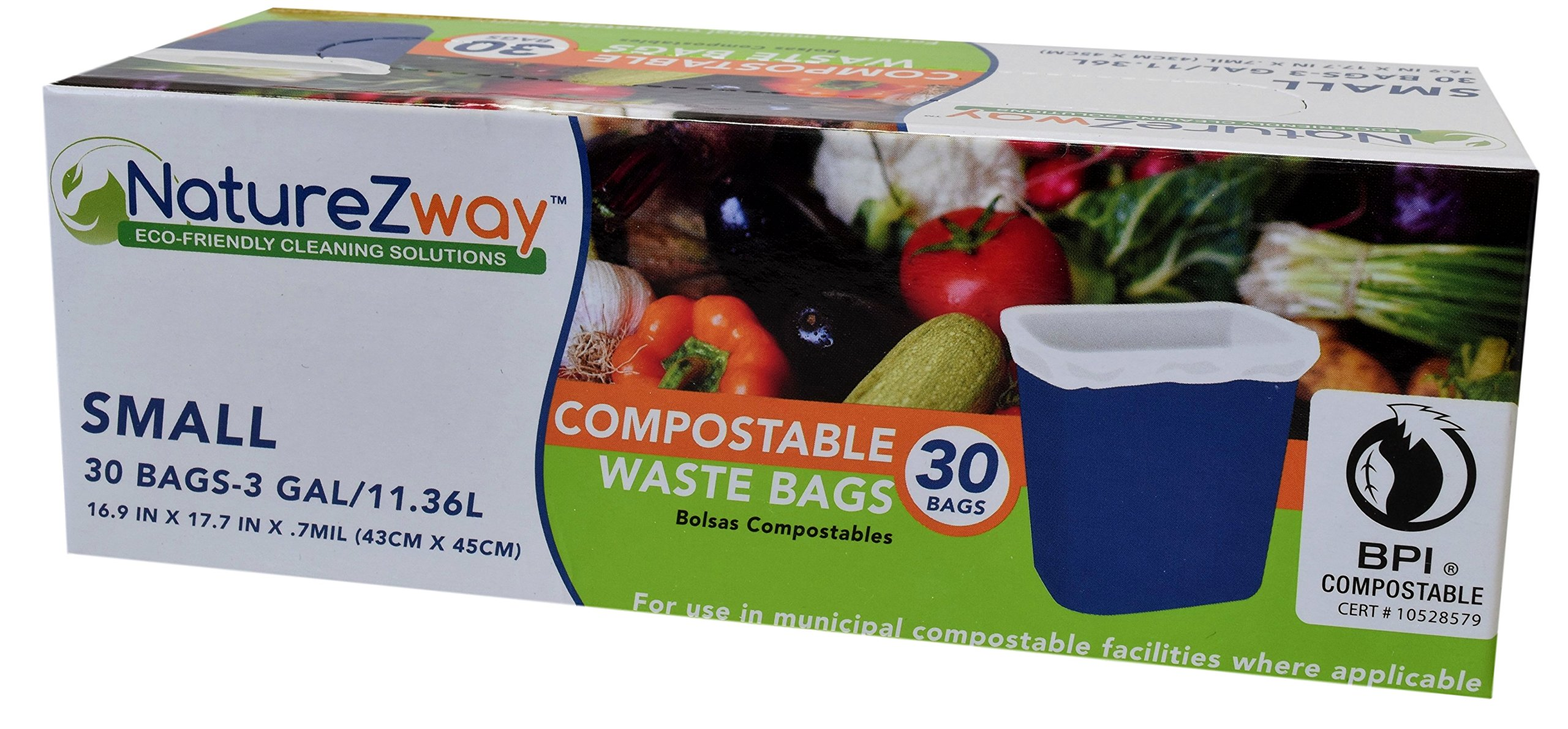 NatureZway - Small Compostable Waste Bags, 3 Gallon - 30 Count, Pack of 3