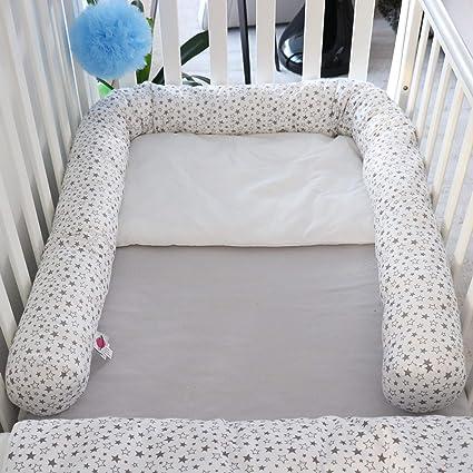 Big Stars blau babymajawelt/® Bett Nestchen Schlange Seitenschl/äferkissen 210 cm Zugluftstopper Nestchen f/ür Babybett
