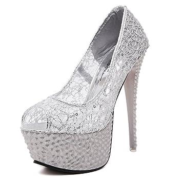 6d839e7b XiaoGao Zapatos de encaje vestido de noche de 15 cm de alto sandalias de  tacon zapatos de boda,Plateado: Amazon.es: Deportes y aire libre