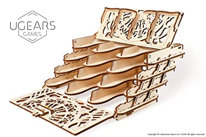 UGEARS Modelo Mecánico Puzzle 3D - Soportes de Juego de Cartas - Card Holder - Caja de Madera Tarjeta de Juego Estuche Funda para 12 Mazo de Naipes ...