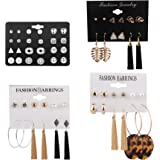 Udalyn 30-38 Pairs Assorted Multiple Stud Earrings Set for Women Girls Acrylic Round Ball CZ Bohemian Long Tassel Drop Earrin