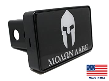 Molon Labe Helmet Black Hitch Cover Bright Hitch