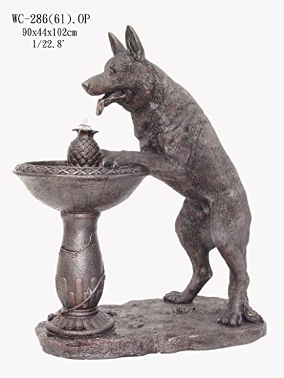 Bon Garden Outdoor Indoor German Shepherd Dog Sculpture Water Fountain  40u0026quot;H ...