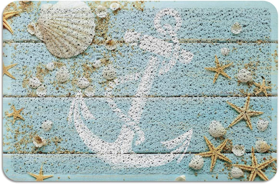 Vandarllin Beach-Themed Nautical Doormat Rubber Backing-Non Slip Rug for Front Door Seashell Starfish Anchor Mat Rugs Indoor Outdoor Area Runner 2 x3