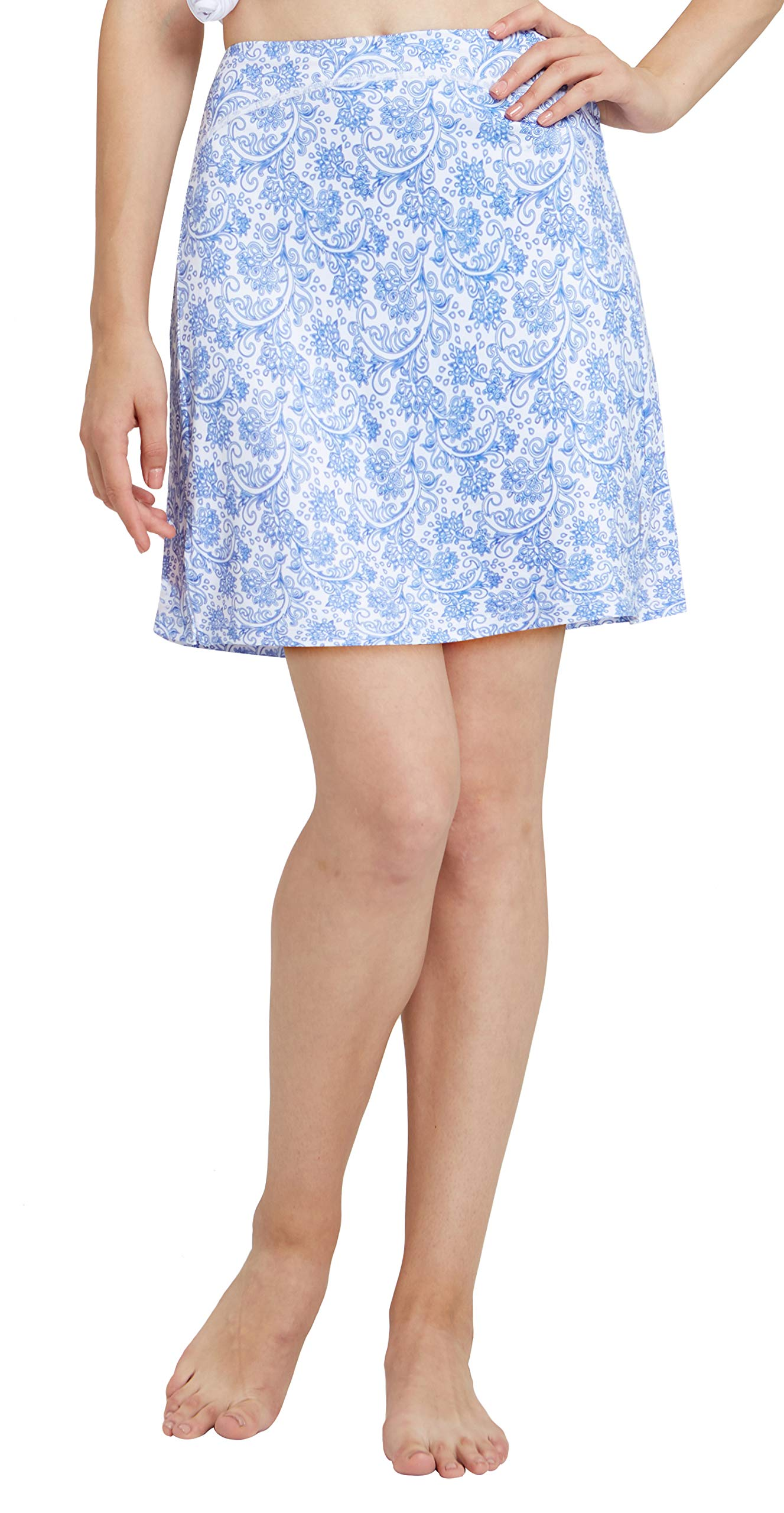 slimour Women Print Golf Skirt Travel Skirts with Pockets Swim Skirt High Waist with Shorts Blue Iris XS by slimour