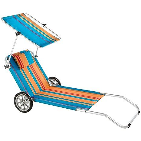 Lettino Da Mare E Da Sole Con Ruote Sdraio Trolley.Ultranatura Nizza Lettino Da Spiaggia Con Tettuccio E Rotelle