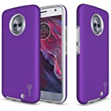Moto X4 Case, CoverON Rugged Series Protective Hybrid Phone Cover with Easy-Press Metalized Buttons - Purple