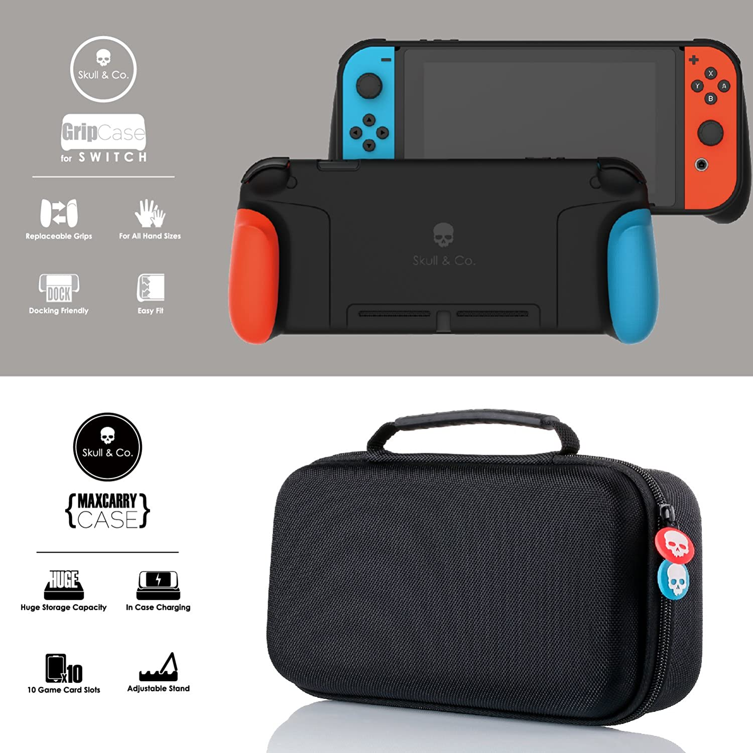 Skull & Co. GripCase Set: A Dockable Protective Case with Replaceable Grips [to fit All Hands Sizes] for Nintendo Switch - Gray