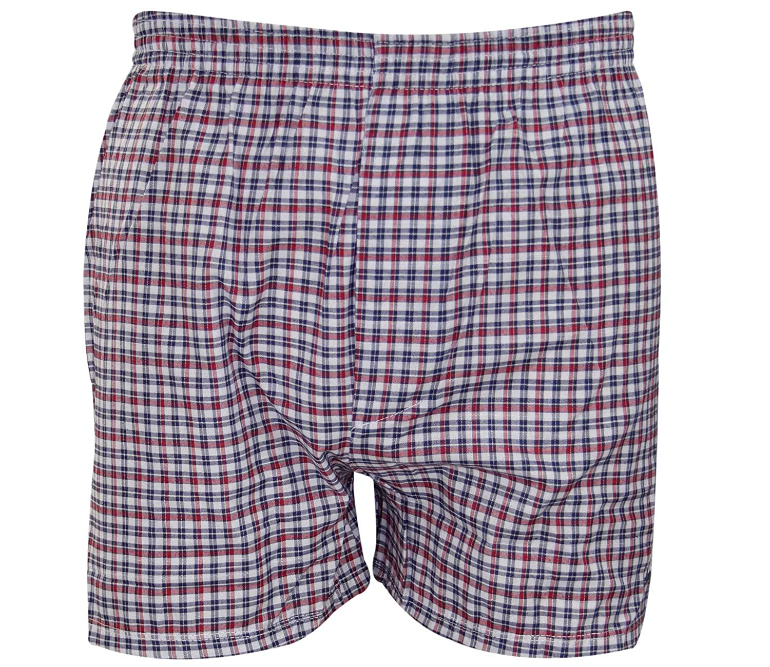 dc6726a164ad97 6 Pack Mens Woven Check Print Poly Cotton Boxer Shorts Underwear Plain  Trunks