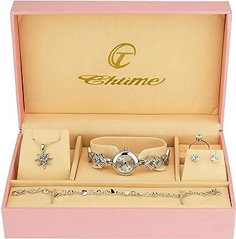 Caja de Regalo Reloj Mujer - Juegos de Joyas- Collar-Anillo- Pendientes - Pulsera: Amazon.es: Relojes