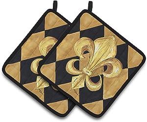 Caroline's Treasures black & Gold Fleur De Lis New Orleans Pair of Pot Holders , 7.5HX7.5W, Multicolor