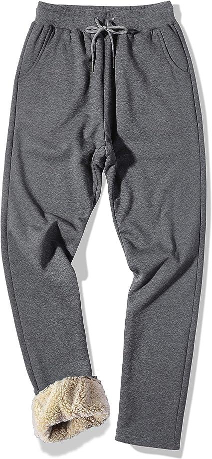 Male Winter Thicken Sherpa Warm Fleece lined Casual Sport Pants Joggers Trousers