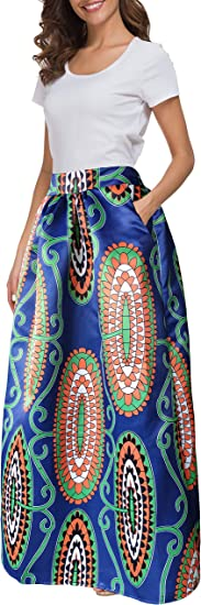 Women African Printed Casual Maxi Skirt