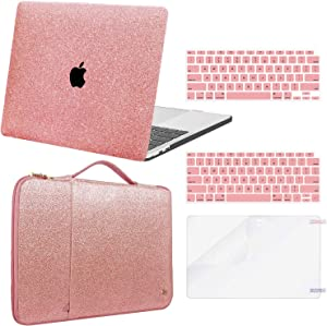 MacBook Air 13 inch Case 2020 2019 2018 (Model: A2337 M1 A2179 A1932), MacBook Air 2020 Case (Touch ID, Retina Display) + Laptop Sleeve Bag + Keyboard Covers + Screen Protector, Glitter Rose Gold