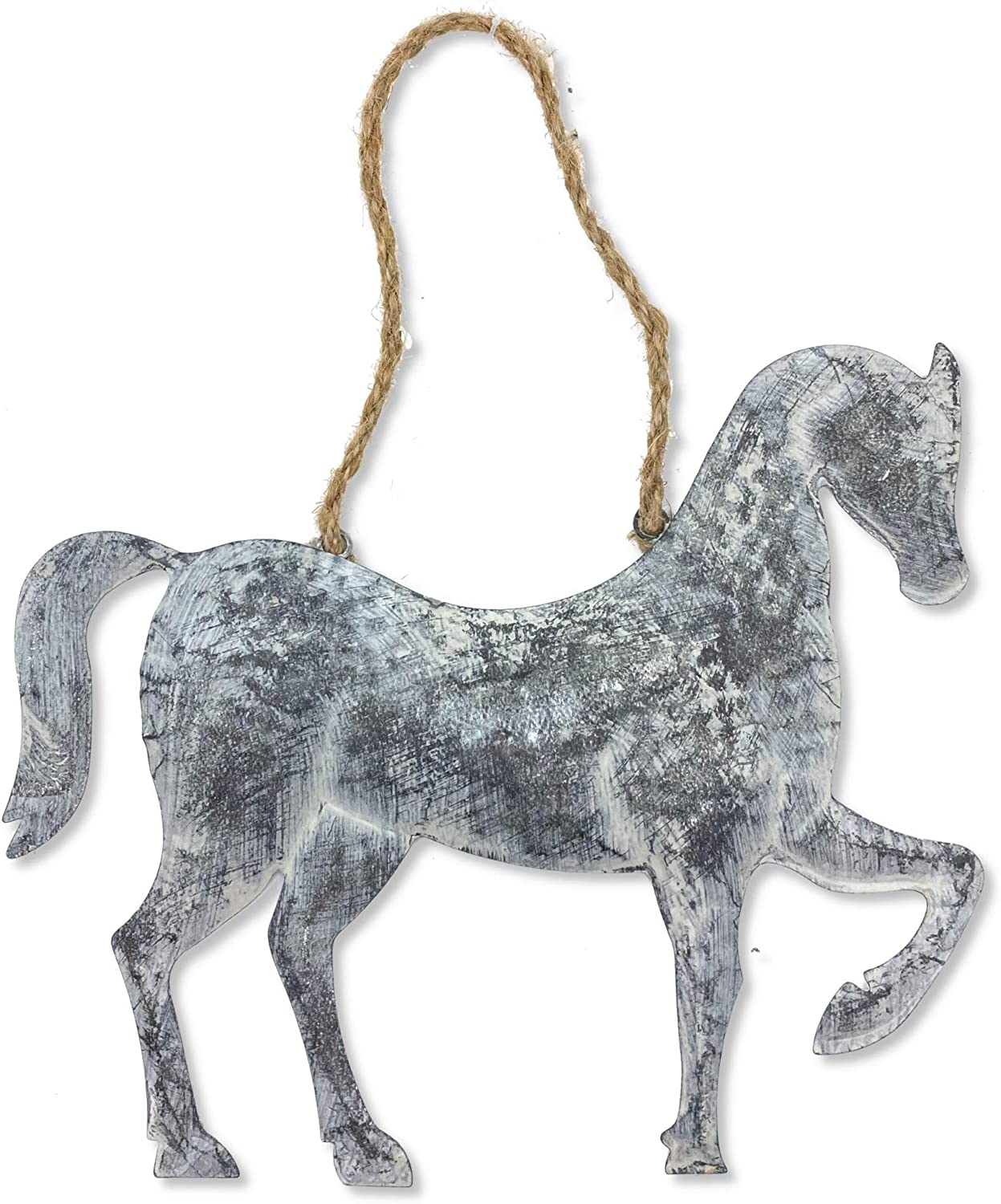 """Ruth + Wilde Metal Horse with Jute Rope Loop Wall Hanging Decor - Farmhouse Primitive 10"""""""