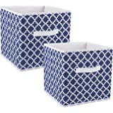 """DII Foldable Fabric Storage Containers for Nurseries, Offices, Closets, Home Décor, Cube Organizers & Everyday Storage Needs, (Large - 11 x 11 x 11"""") Nautical Blue Lattice - Set of 2"""