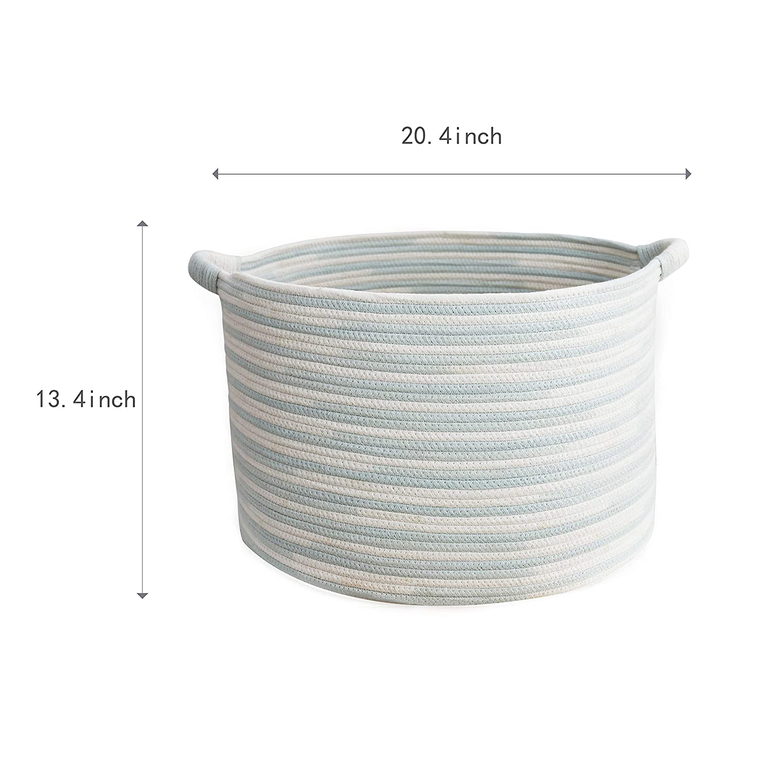 White with Light Green Wide 20 /× 13 Woven Toy Storage Decorative Basket for Laundry and Living Room YLWHZOVE XXL Cotton Rope Basket for Kids