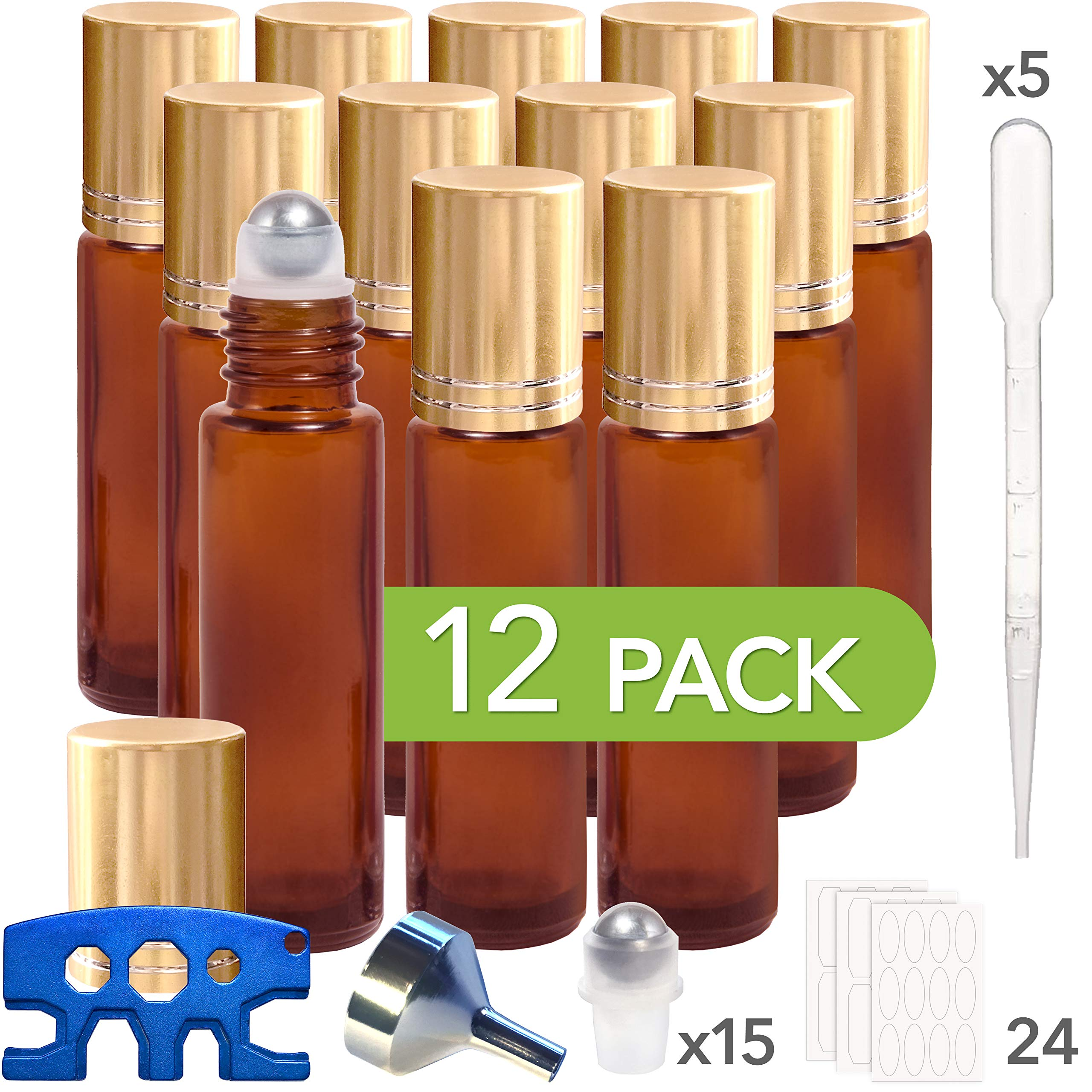 Pure Acres Farm, 12, Amber, 10 ml Glass Roll-on Bottles with Stainless Steel Roller Balls. 3 ml Droppers included by Pure Acres Farm