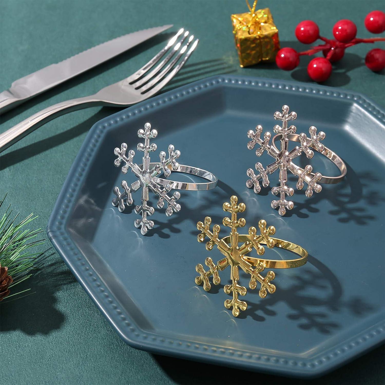 12 PCS Snowflake Holder Rings Table Decorations Christmas Decorations Napkin Holder Snowflake Napkin Rings Set