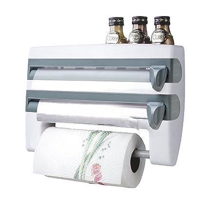 AnTom Portarrollos para film transparente, 4 en 1, dispensador de papel