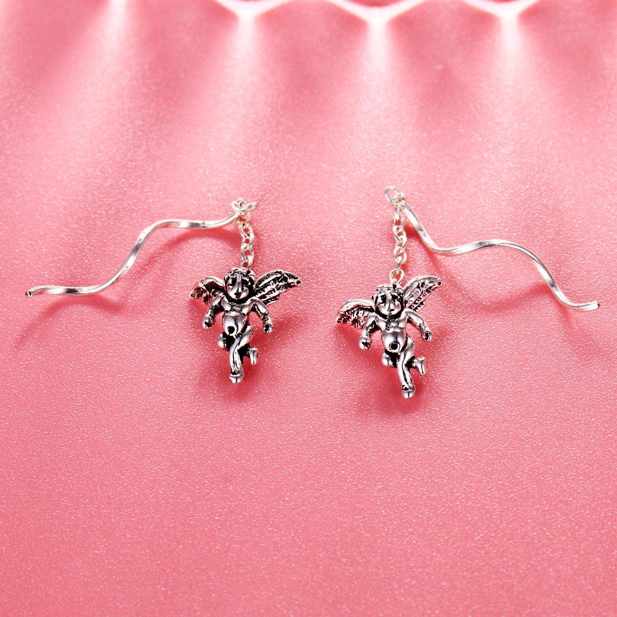 EVER FAITH 925 Sterling Silver Retro Cute Love Angel Cupid Twist Ear Threader Dangle Earrings