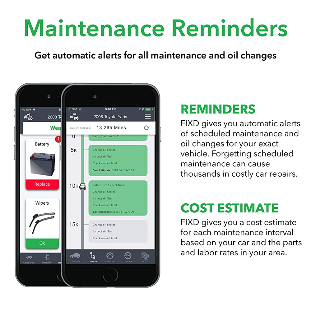 FIXD give you automatic alerts for all maintenance and oil changes.