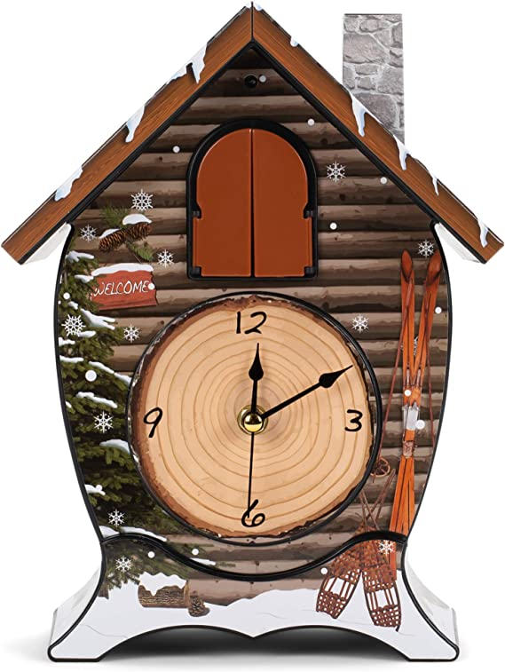 Wooden Cuckoo Clock,Traditional Chalet Style Singing Cardinal Tabletop Wall Sound Cuckoo Clock