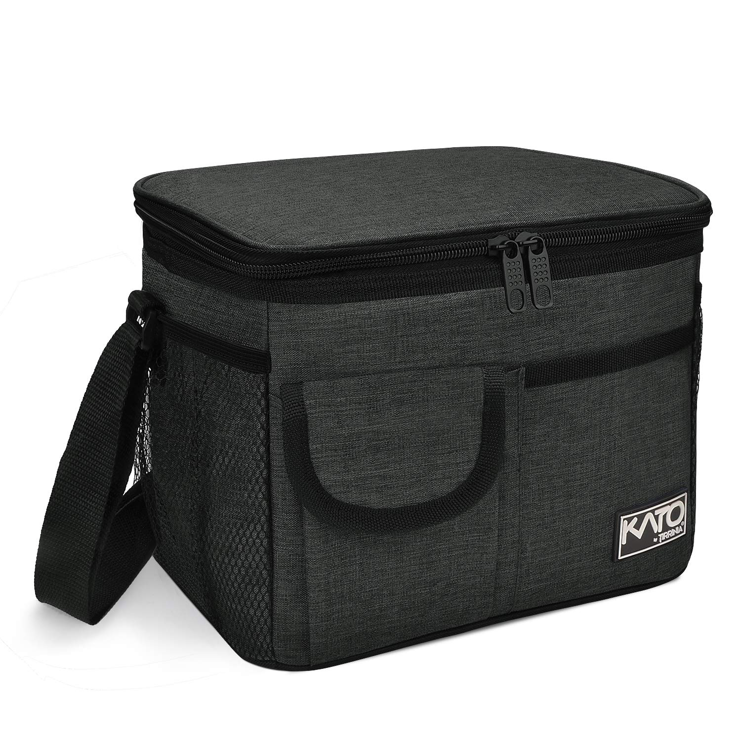 Insulated Lunch Box for Women Men, Leakproof Thermal Reusable Lunch Bag with 4 Pockets for Adult & Kids, Lunch Bag Cooler Tote for Office Work by Tirrinia, Black by Tirrinia