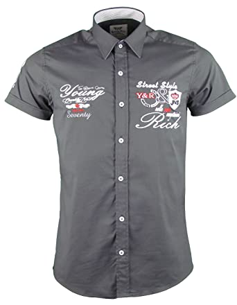 Kurzarm Hemd - Freizeithemd - Körperbetont - mit Stickapplikationen -  Verschiedene Farben (S, Anthrazit