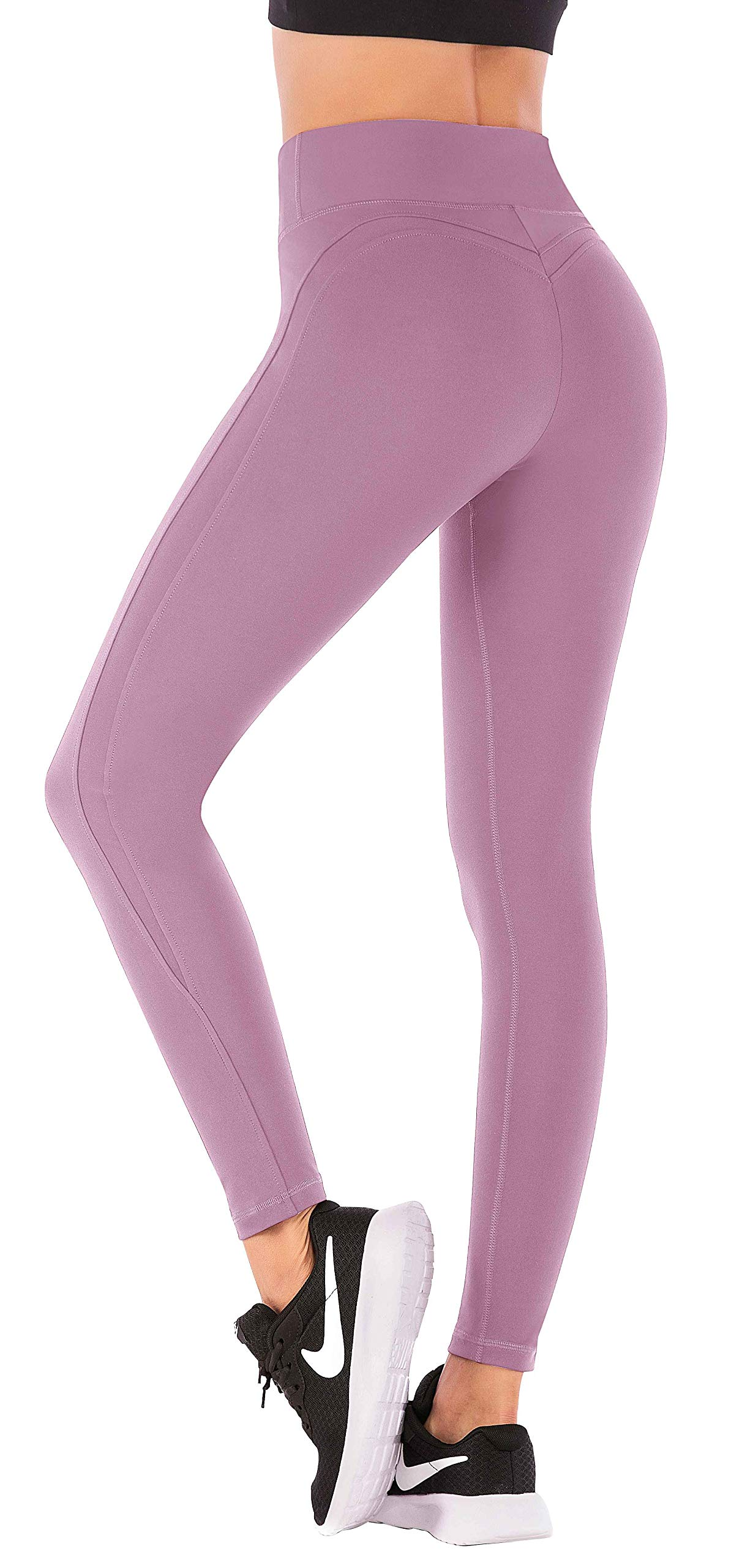 IUGA Yoga Pants with Pockets Workout Leggings for Women 4 Way Stretch Yoga Leggings with Pockets (Begonia Pink 7850, Small)