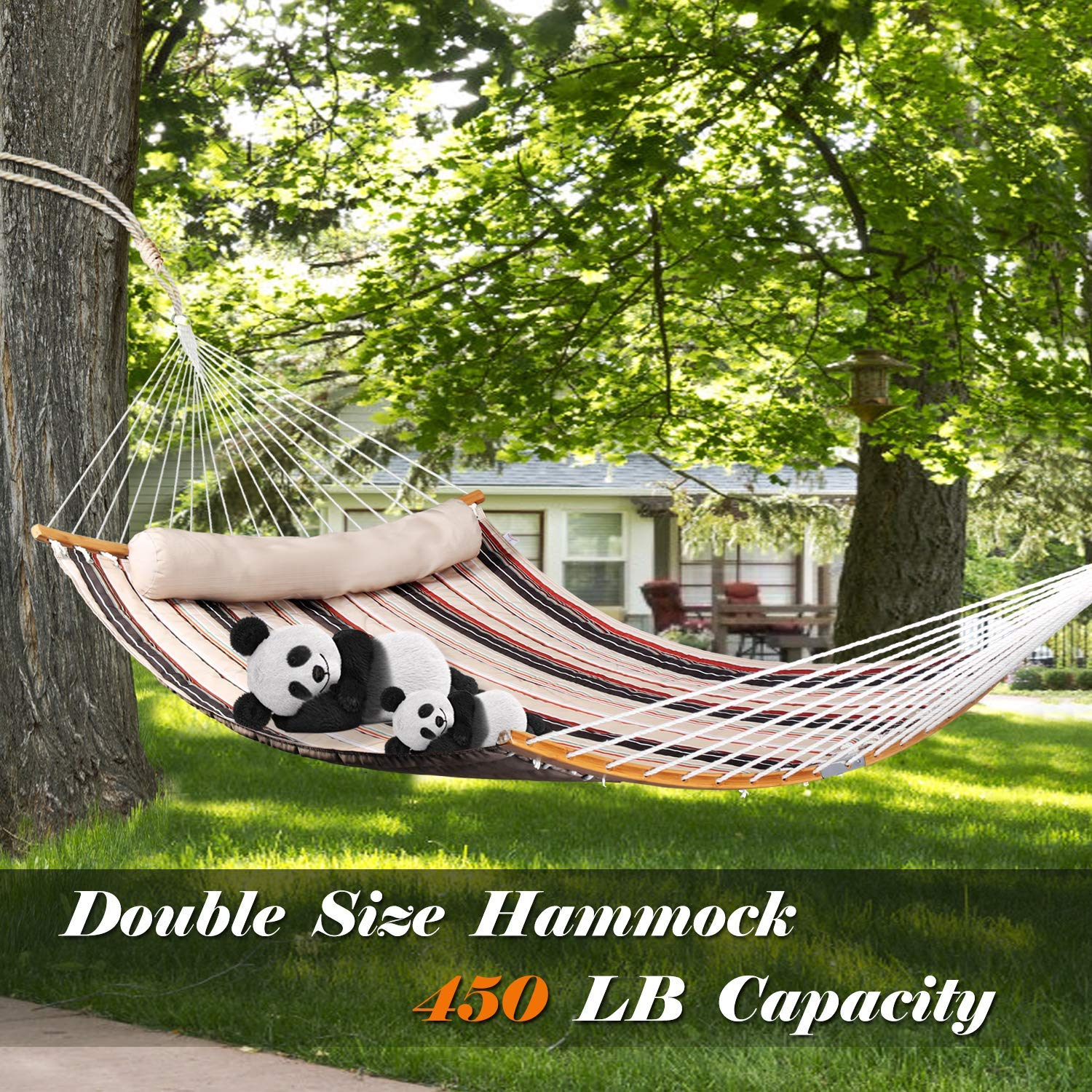 Curved Bar Design Portable Camping Hammock Swing w//Small Carrying Bag Quilted Durable Fabric Bathonly 2019 New Double Hammock w//Foldable Bar /& Detachable Pillow Royal Blue