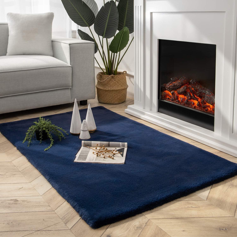 Ashler Ultra Soft Faux Rabbit Fur Chair Couch Cover Area Rug for Bedroom Floor Sofa Living Room Dark Blue-Rectangle 3 x 5 Feet