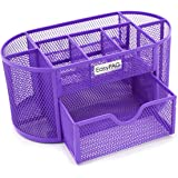 EasyPAG Desk Organizer 9 Components Mesh Office Desktop Supplies Caddy with Drawer ,Purple