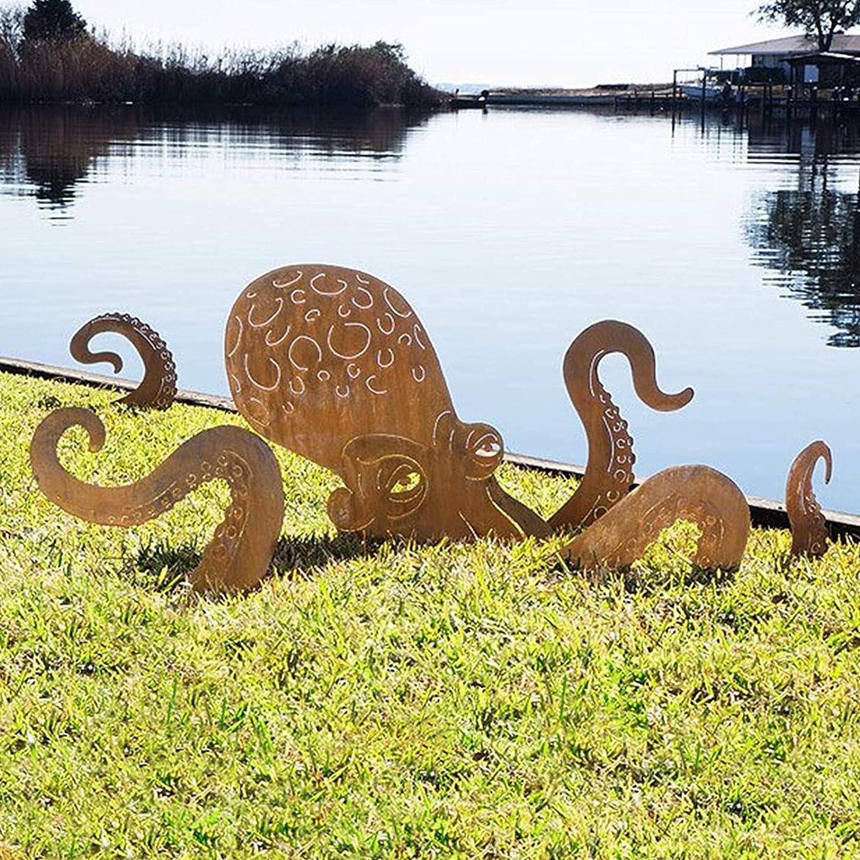 Octopus Garden Sculpture- Sun Protection Waterproof Sturdy Octopus Decor Patio Decor Yard Decor, 6 Piece Iron Sea Creature Lawn Ornament,No Fade Garden Decor Outdoor Decor (Yellow)