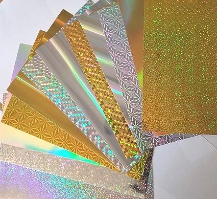 Amazon.com: craftbudyus A4 hojas de oro/plata holográfica ...