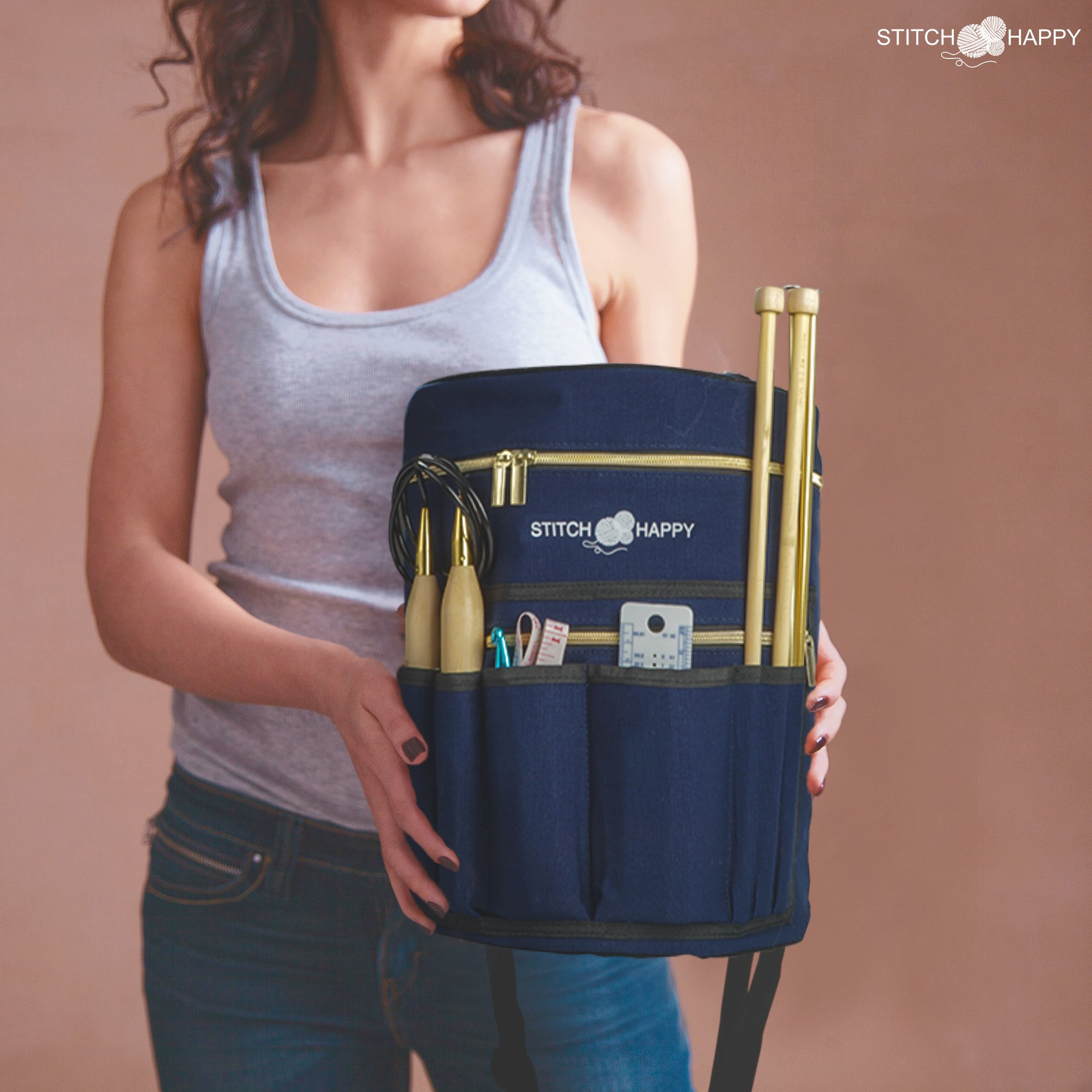Knitting Bag - Yarn Tote Organizer w/Tool Case, 7 Pockets + Divider for Extra Storage of Projects, Supplies & Crochet (Navy) by Stitch Happy by Stitch Happy (Image #8)