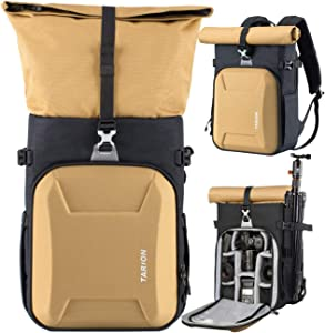 "TARION XH Camera Backpack Waterproof Camera Bag Hard Shell Roll Top Expandable Large Camera Backpack 18.5L | 15"" Laptop Compartment with Waterproof Rain Cover for Women Men Photographer Lens Tripod"