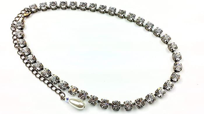Amazon.com  Crystal Necklace Swarovski Wedding Bridal Tennis Rhinestone  Jewelry  Handmade 12ae93fa9