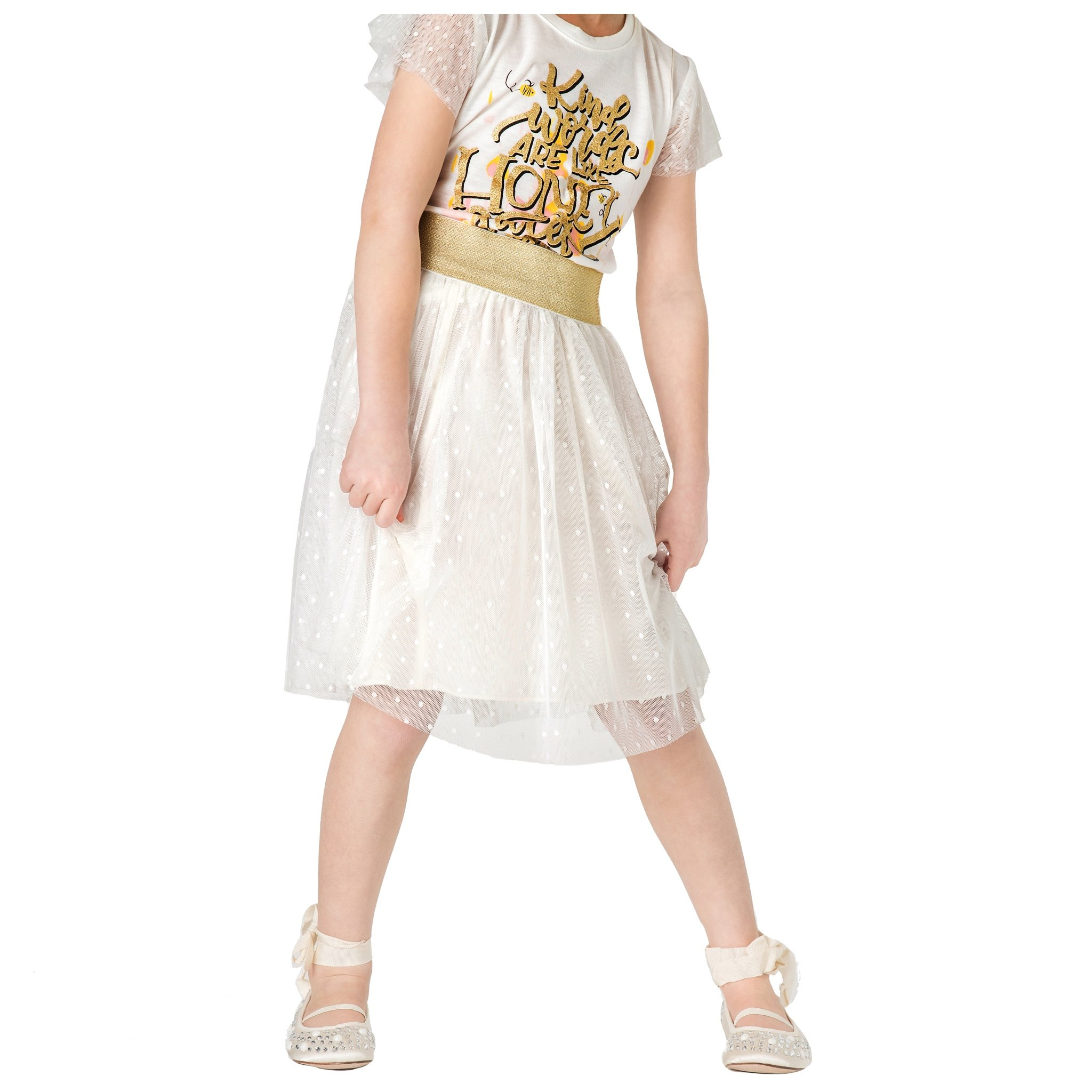 FashionxFaith Little Girls Skirts Dresses - Tillie Collection Ivory Polka Dotted Mesh Clothes for Toddlers and Kids, Medium, Made in USA