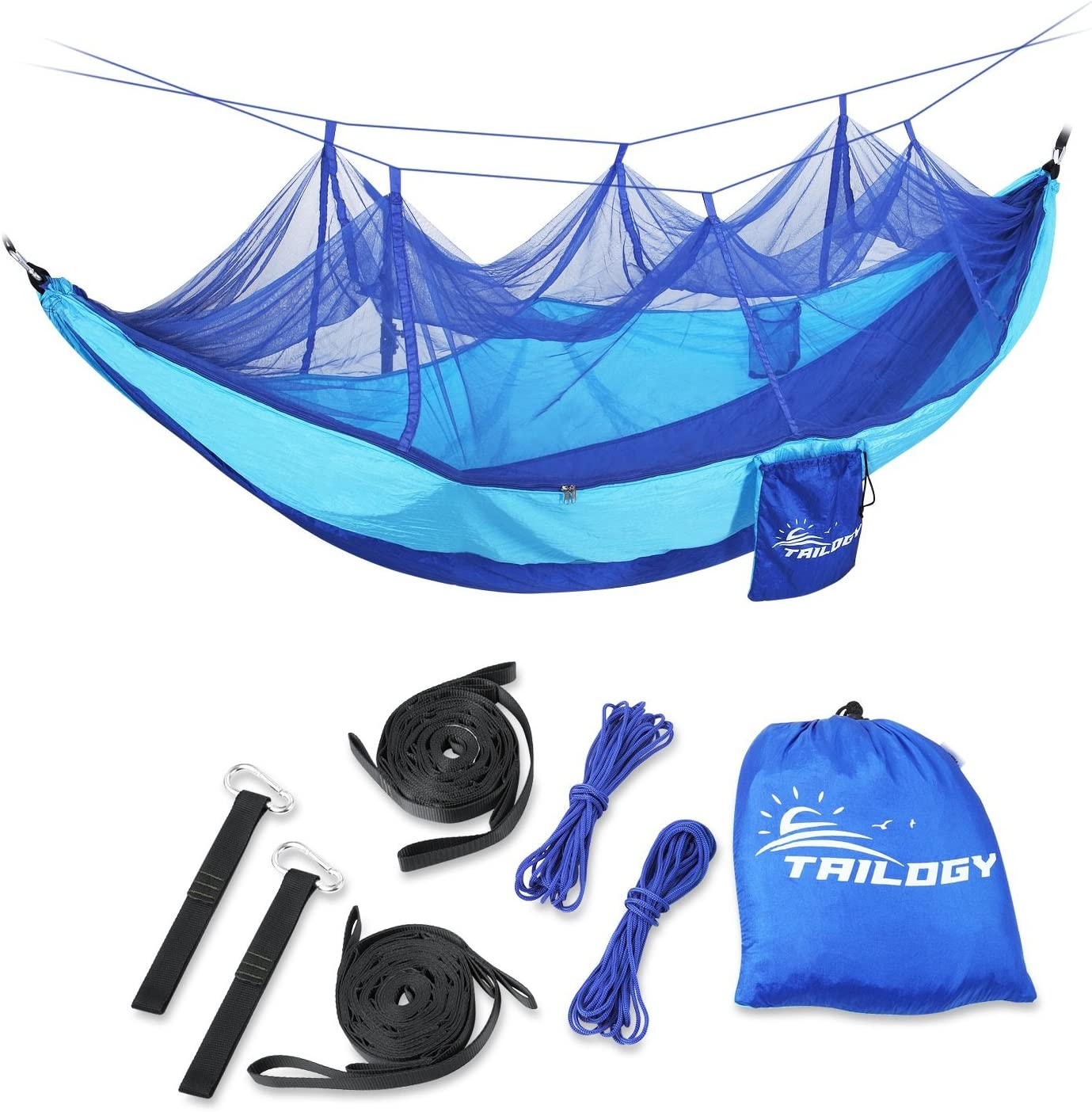 Camping Hammock with Mosquito Net – Lightweight Nylon Portable Double Parachute Hammocks Including Suspension Strap,for Indoor,Outdoor,Hiking,Camping,Backpacking,Travel, Beach, Backyard