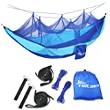 Camping Hammock with Mosquito Net - Lightweight Nylon Portable Double Parachute Hammocks including Suspension Strap,for Indoor,Outdoor,Hiking,Camping,Backpacking,Travel, Beach, Backyard