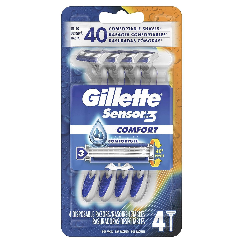 Gillette Sensor3 Men's Disposable Razor, 4 Count