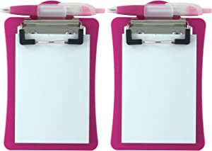 Clipco Mini Clipboard with Magnetic Back Includes Paper Pad and Pen (2-Pack) (Pink)