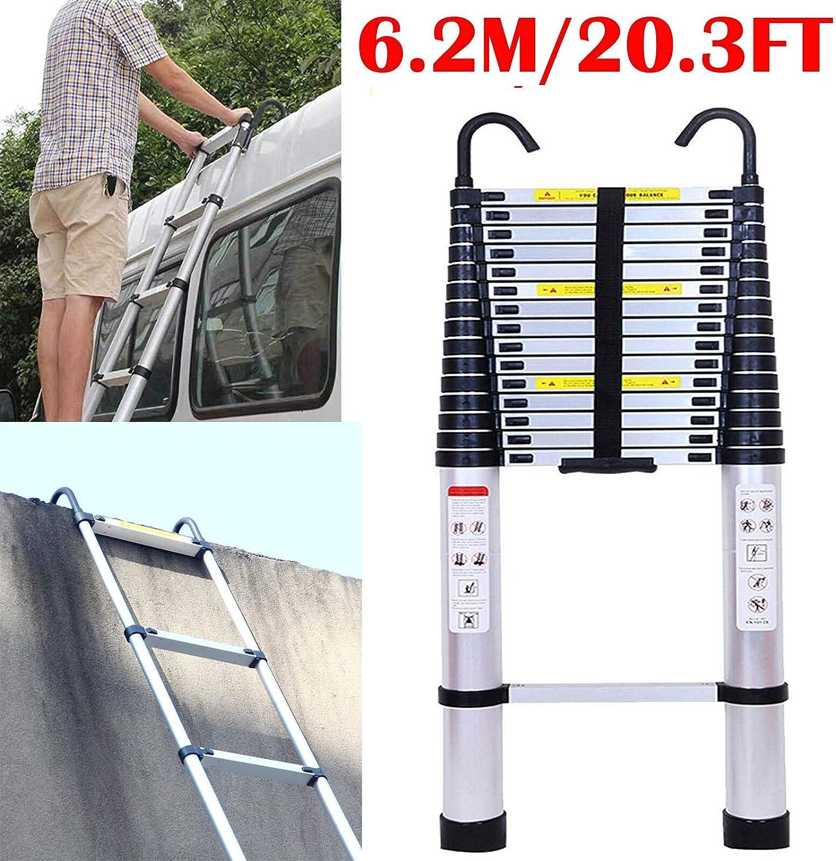 Escalera multiusos de aluminio de 6,2 m, telescópica, plegable, hasta 150 kg de capacidad, con gancho desmontable, seguridad EN131 estándar de 20 pies: Amazon.es: Bricolaje y herramientas